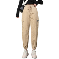 Fashion Harem Pants Women Loose Full Length With Big Pockets Women Trousers Bottoms Khaki Army green Beige
