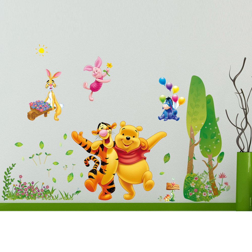 pvc disney partners the pooh pink panther fashion queen cartoon children 39 s room sticker wall. Black Bedroom Furniture Sets. Home Design Ideas