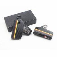 1 pcs Cadeia de Fibra De Carbono Caso Capa de Couro Chave Do Carro Para Audi A3 TT A4L A6 A5 A7 A8 Q3 Q5 Q7 Q7 S5 6 7 8 S LINHA saco Chave acessórios