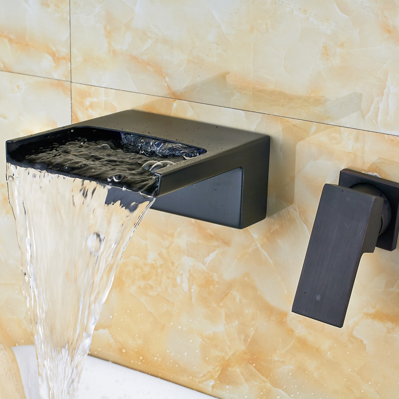 Newly Black Brass Basin Faucet Taps Single Lever Bathroom Waterfall Spout Mixer Valve Taps Wall Mounted