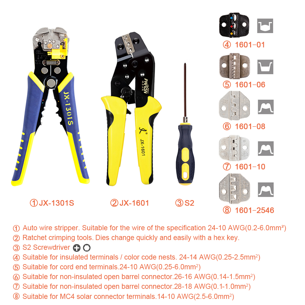 Tools : PARON Professional Wire Crimpers Engineering Ratcheting Terminal Crimping Pliers Wire Strippers Bootlace Ferrule Crimper Tool