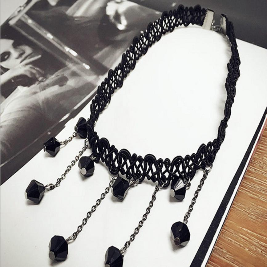 2018 HOT SALE Vintage Women Black Lace Collar Necklace Chain Drop Clavicle Ornament Decoration gift drop shipping Mar 20