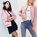 Rosa Pilotos Bomber Jacket Women 2016 Otoño Invierno Hip Hop ropa de Abrigo de Invierno chaqueta Rompevientos 10 colores