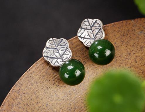Sterling S925 925 argent oreille stud oreille clou feuille pierre naturelle perle pour femme boucle d'oreille à la mode 20mm