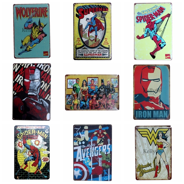 Super Batman Hero Vintage Metal Sign Tin Poster Home Bar Wall Art Painting 2030 Cm Size Dz5