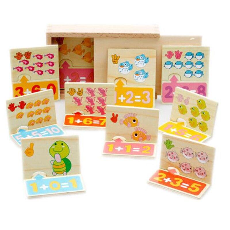 Montessori mathématiques matériel Maths cognitif et correspondant conseil nombre nombre jouets en bois pour enfants dessin animé Animal conception