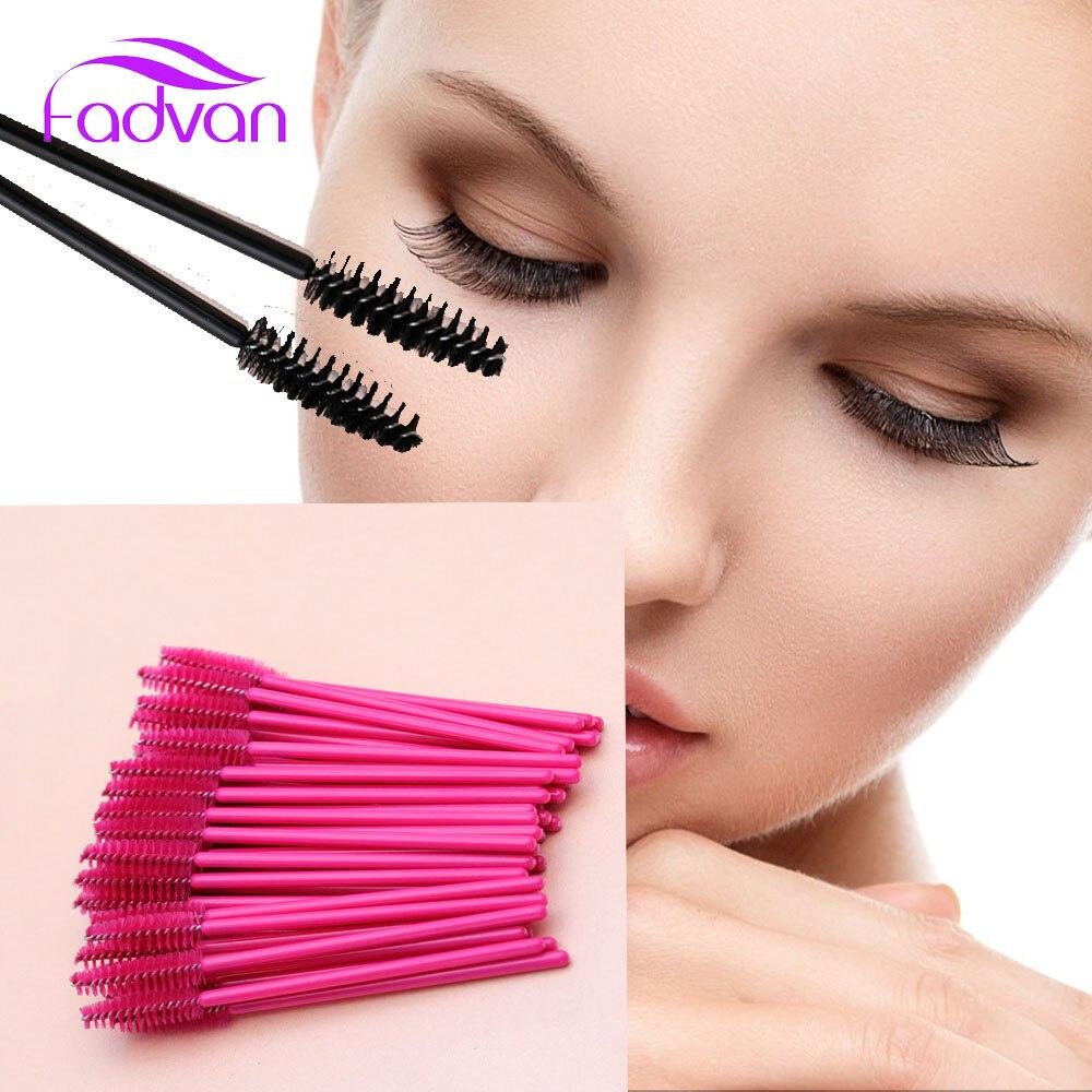 Wholesale Fadvan 150pcsPack Make Up Brush Pink Synthetic Fiber One-Off Disposable Eyelash Brush Mascara Applicator Wand Brush