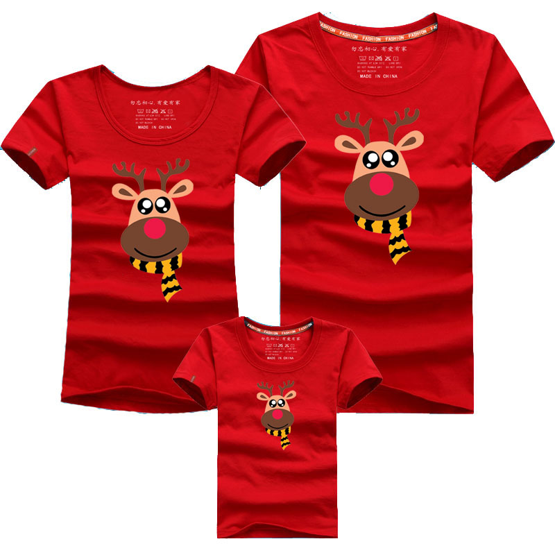 Christmas Fashion Family Look Family Matching Outfits T-shirt Matching Family Clothes Milu Deer Mother Father Baby Short Sleeve