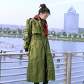 MX Spring Autumn Personality Novelty  Long Sleeve British Style Badge Tunic Medium-Long Loose Plus Size Army Green Trench Coats
