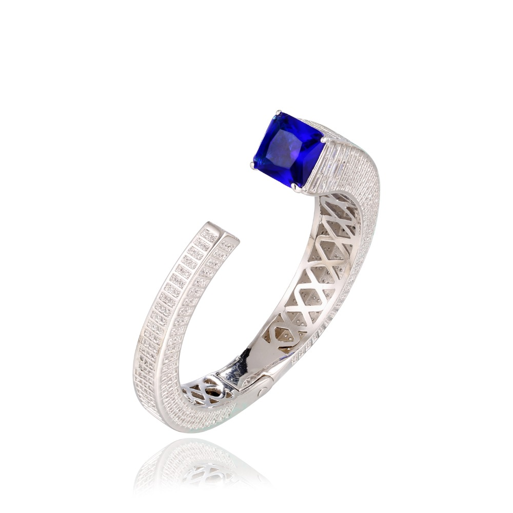 GrayBirds Romantic Cuff Bangles Bracelets Rhodium Plated Wedding Jewelry White And Blue In The Stock Square AAA Zirconia MLB051