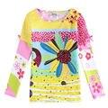 Розничная мода осенние детей девушки футболки для девочек майка с длинным рукавом детей майка печатных цветок детской одежды высокой