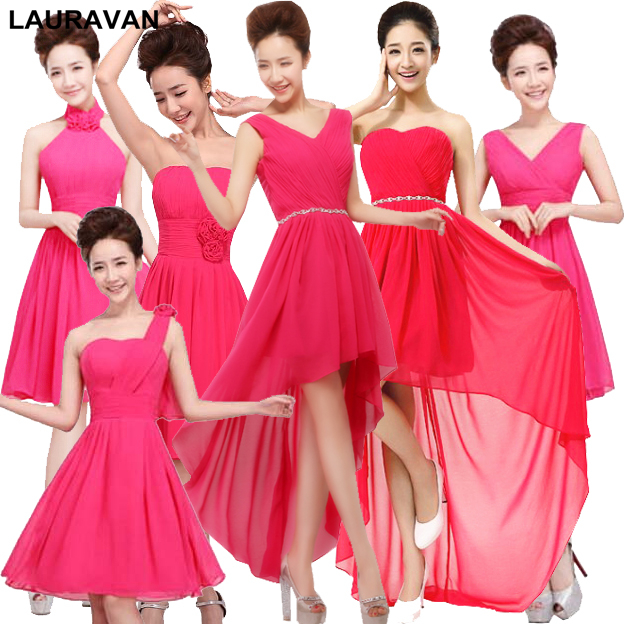 2019 Hot Sales New Fuchsia Elegant Short One Shoulder Sexy Simple Plus Size Bridesmaid Dresses Hot Pink Bridesmaide Dress