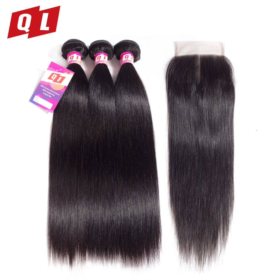 QLOVE HAIR Straight Hair Bundles With Closure Brazilian Human Hair weaves 3 Bundles With 4x4 Closure