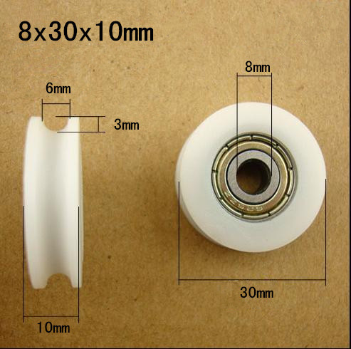 Free Shipping 10PCS 608zz bearing coated POM pulley U groove 8*30*10 door roller wheels