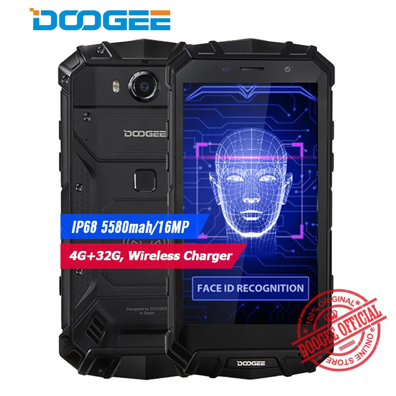 DOOGEE S60 lite IP68 Waterpoof Mobile phone 5580mAh 5.2″ FHD 4GB+32GB MT6750T Octa-Core 16MP Wireless charger Android Smartphone
