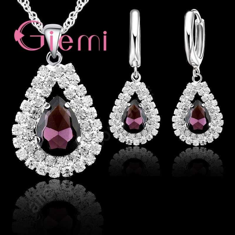 Air Drop Liontin Kalung Anting-Anting untuk Wanita Hadiah Berkilau 925 Sterling Silver 5A Kelas Austria Crystal Perhiasan Set