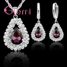 7145ea670 Water Drop Pendant Necklace Earrings for Women Gifts Sparkling 925 Sterling Silver  5A Grade Austrian Crystal Jewelry Set