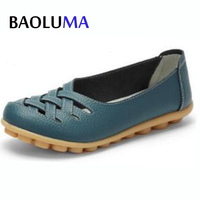 New Designer Spring Summer Women Genuine Leather Casual Shoes Nurse Shoes Breathable Driving Shoes Flats Shoes