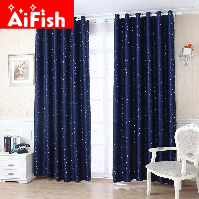 Window Curtain Blackout Children Room Curtains Underwater: Window Curtains Set Thermal Insulated Solid Silver Stars