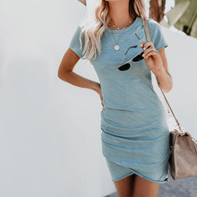 New Summer Dress Women Solid Irregular Bodycon Mini Dress O-Neck Short Sleeve Sexy Beach Sundress Tunic Vestidos S-XXL NS8987(China)