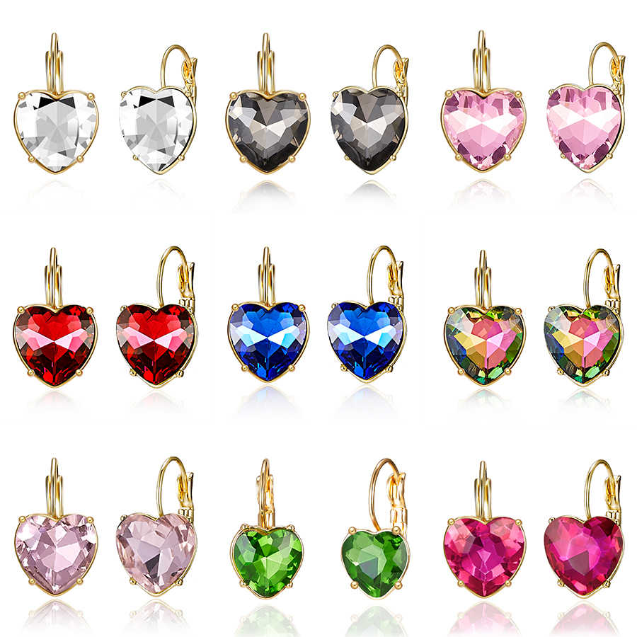 15 Styles Fashion Gold Color Love Heart Stud Earrings Red Pink Blue Austrian Crystal Crystal Earring For Women Wedding Jewelry