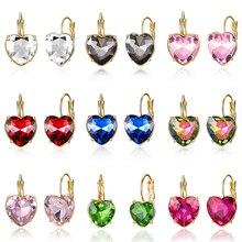 15 Styles Fashion Gold Color Love Heart Stud Earrings Red Pink Blue Austrian Crystal Earring For Women Wedding Jewelry