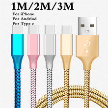 USB Cable 2A Fast Charging Nylon Type C Sync Data Mobile Phone Android micro usb cable Adapter Charger For iPhone 5