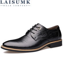 LAISUMK 2019 Luxury Brand Men Flats Fashion High Quality Genuine Leather Shoes Mens Lace Up Business Dress Shoes Oxfords For Men new 2016 high quality men genuine leather casual lace up shoes fashion flats luxury brand low top men shoes red white black