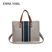 EMMA YHBL  Fashion casual canvas with wide shoulder strap for OL business commuting