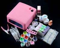 Professional 36W Pink Cure Lamp Dryer UV Gel Nail Tools Full Set Kit with UV Gel and Nail Manicure Kits