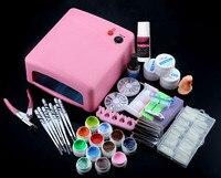 Professionale 36 W Rosa Cura Lampada Dryer Gel UV Strumenti Chiodo Kit Set Completo con il Gel UV e Nail Manicure kit