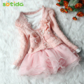 2 Piece Hot Retail Beautiful Girls Jackets Cardigan and Dimante Dress Tutu baby kids coat+dress Children clothing