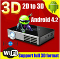 ! Новейший bulit в Android 4.2 система 3D мини porable full HD DLP смарт-проектор, поддержка конвертировать 2D в 3d проектор