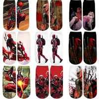PLstar Cosmos Marvel Superhero Funny Deadpool 3D Printed cute cotton short ankle socks for women ladies harajuku korean socks