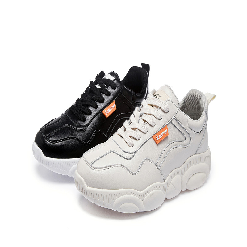 Zhenwei chaussures décontractées confortable papa Chunky chaussures mâle plat bas coupe ours chaussures plate-forme hommes baskets noir