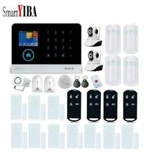 SmartYIBA APP Control Mutli Language Smarts Alarm System WIFI Network Camera Alarm Kits Include Glass Break Sensor Smoke Alarm