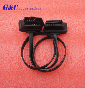 1Pcs Flat+Thin As Noodle OBD 2 OBDII OBD2 16Pin Male to Female ELM327 Diagnostic Extension Cable Connector image