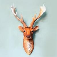 American Creative Deer Head Hanging Living Room Wall Simulation Animal Head Wall Decoration 3D Vintage Deer Head Wall Hanger