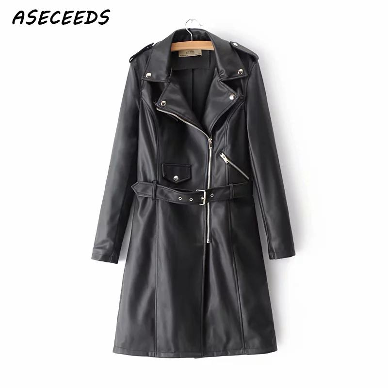 Winter black Faux   leather   jacket women long windbreaker coat Streetwear punk zipper PU jacket female Motorcycle coat 2018