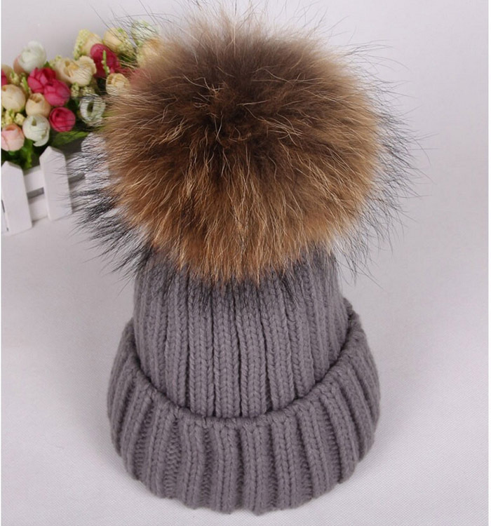 Women Stylish Winter knitted Hat Bobble Hat Removable Raccoon Fur Ball Top  Fitted Apparel Accessories Ladies Knitted Beanie cab2544432f