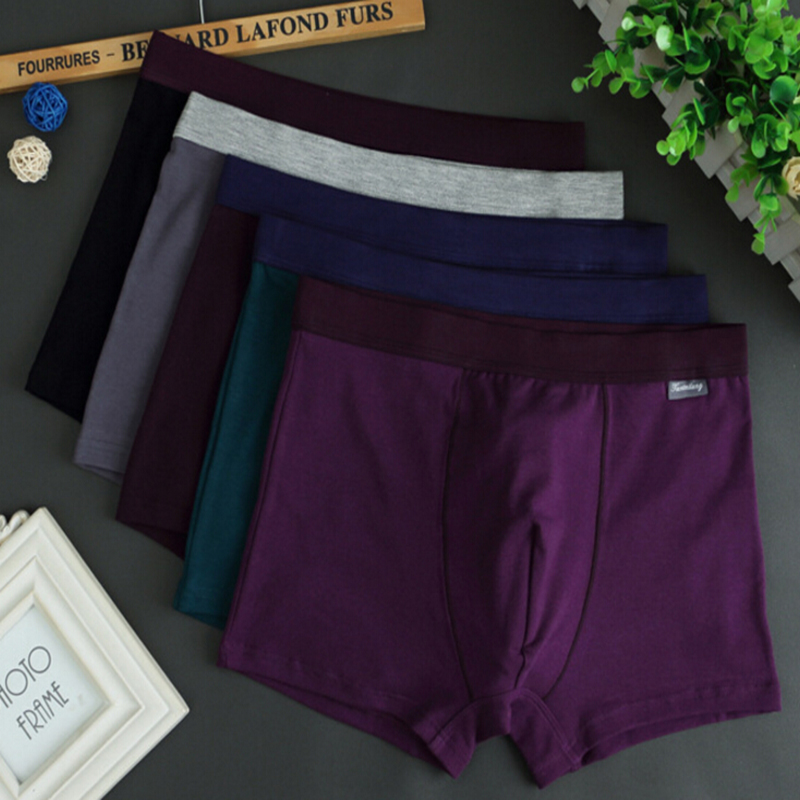 2018 new arrival Underwear over size mens underwear cotton plain Simple solid color cotton free shipping