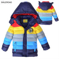 SAILEROAD 4 6Years New Winter Boy Coat With Striped Color Boys Cotton Padded Jacket Kids Winter Down Coat For Children Outerwear