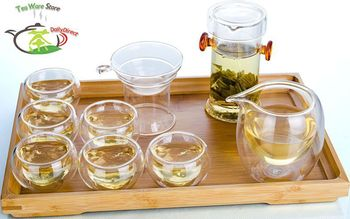 1x Kung fu Coffee Tea Set -Glass Double Red Ear Handles Pot + Strainer+ Chahai +6 Heart Double Wall Layer Cup + Bamboo Tray