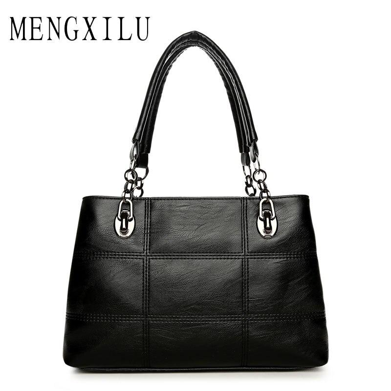 Big Women Bags Handbags Women Famous Designer Plaid Women Leather Handbags 2017 Luxury Ladies Hand Bags Shoulder Fashion Sac