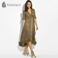 Summer Peacock Print Dress Women V Neck Elegant Sexy Ruffle Split Dress Lady Beach Flare Sleeve