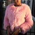 Las mujeres de Piel de Zorro Abrigo de Invierno Chaqueta De Piel de la Señora Corta Chaqueta De Piel de Piel prendas de Vestir Exteriores de Color Rosa Negro SWQ0047-5