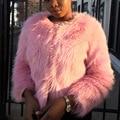 Women Fox Fur Coat Winter Long Furry Jacket Lady Short Fur Outerwear Pink Black Fur Jacket SWQ0047-5