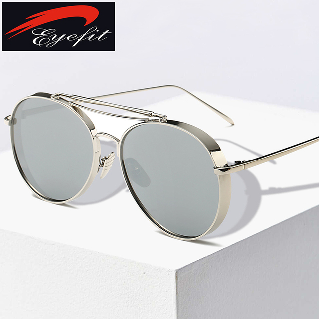 14adc6187ea Male Aviator Sunglasses Men Luxury Brand Mirror Round Sun Glasses For Men  Driving Silver Metal Shades Oculos Original 2016 New