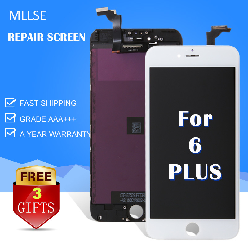 MLLSE For iPhone 6 Plus LCD No Dead Pixel Replacement Screen 5.5 + LCD Display Digitizer With Touch Screen Assembly Black White