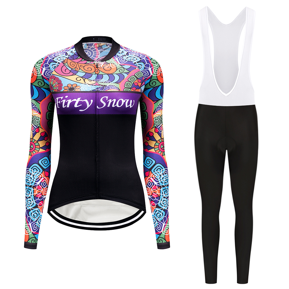 2017 Firty sonw Womens Spring Long Sleeve Cycling Clothing Quick Dry Bicycle Jersey and Pants Ropa Ciclismo Bike Riding Wear